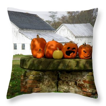 Halloween Scene Throw Pillow by Lainie Wrightson