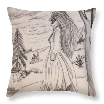 Throw Pillow featuring the drawing Halloween Witch Walk by Maria Urso