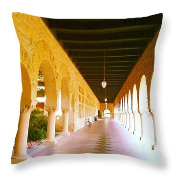 Halls Of Learning - Stanford University Throw Pillow by Anna Porter