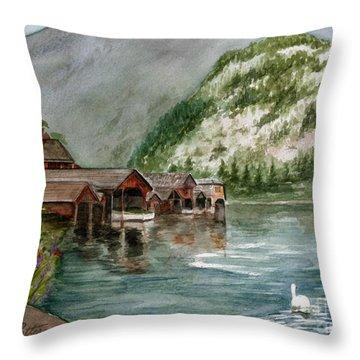 Throw Pillow featuring the painting Hallstatt In The Spring  by Nancy Patterson
