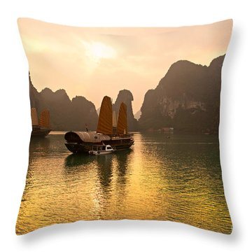 Throw Pillow featuring the photograph Halong Bay - Vietnam by Luciano Mortula