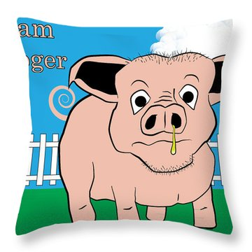 Throw Pillow featuring the digital art Ham Booger by John Crothers