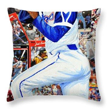 Hammering Hank Aaron Throw Pillow by Michael Lee