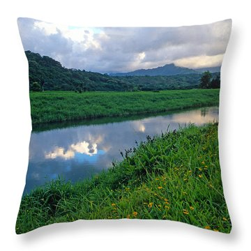 Hanalei River Reflections Throw Pillow by Kathy Yates
