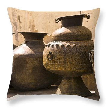 Hand Crafted Jugs, Jaipur, India Throw Pillow by Keith Levit
