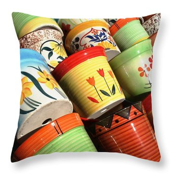 Hand Decorated Flower Pots Throw Pillow