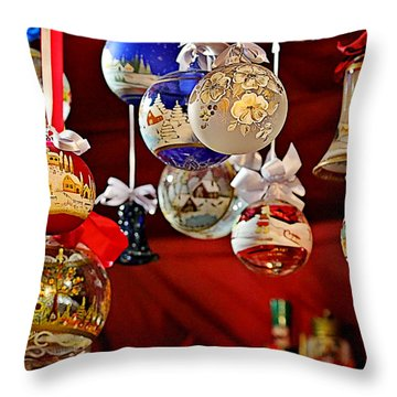 Handcrafted Mouth Blown Christmas Glass Balls Throw Pillow by Christine Till