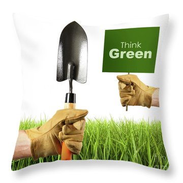 Hands Holding Garden Trowel And Sign Throw Pillow by Sandra Cunningham
