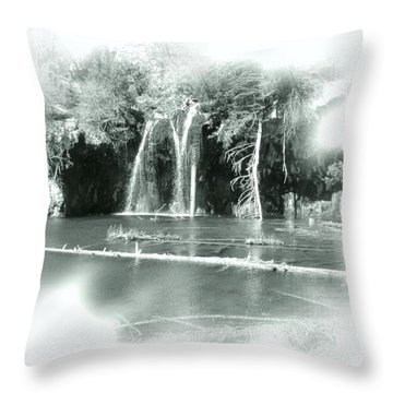 Hanging Lake Throw Pillow by Ellen Heaverlo