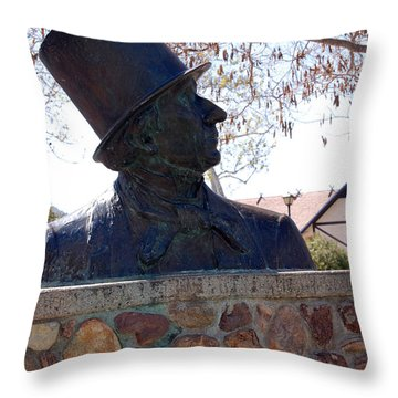 Hans Christian Andersen Statue In The Park In Solvang California Throw Pillow by Susanne Van Hulst