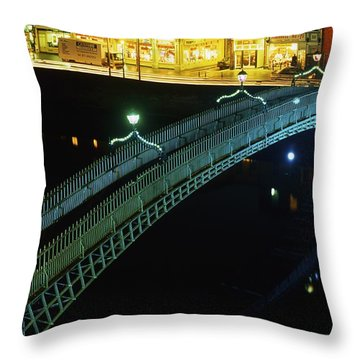 Hapenny Bridge, Dublin City, Co Dublin Throw Pillow by The Irish Image Collection