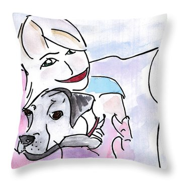 Happiness Throw Pillow by Elizabeth Briggs