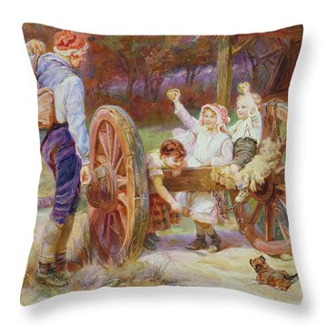 Happy As The Days Are Long Throw Pillow by Frederick Morgan