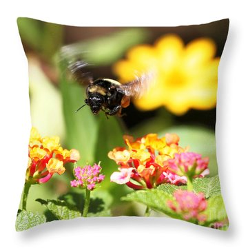 Throw Pillow featuring the photograph Happy Bee by Luana K Perez