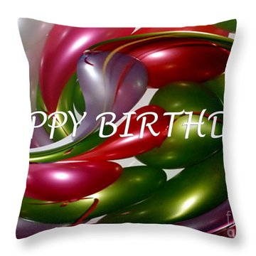 Happy Birthday - Balloons Throw Pillow by Kaye Menner