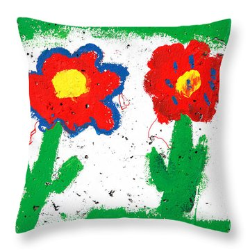 Happy Colorful Flowers Throw Pillow by Gaspar Avila