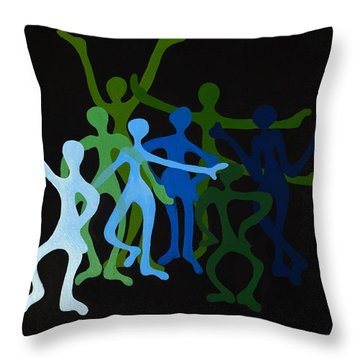 Happy Dancers Throw Pillow by Michelle Wiarda