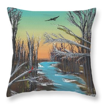 Throw Pillow featuring the painting Happy Day by Alys Caviness-Gober