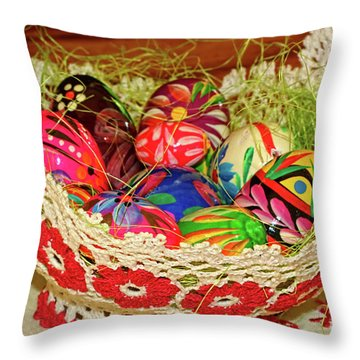 Happy Easter Basket Throw Pillow by Mariola Bitner