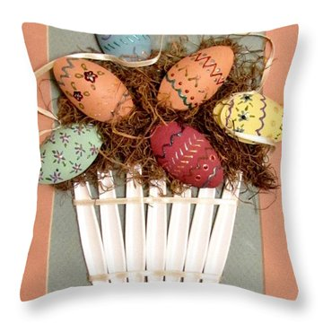 Happy Easter Throw Pillow by Marilyn Smith