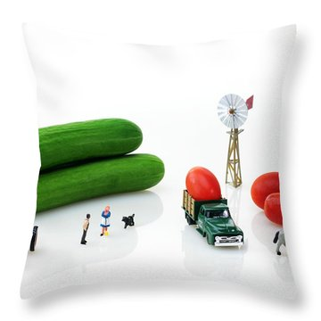 Happy Farm Throw Pillow by Paul Ge