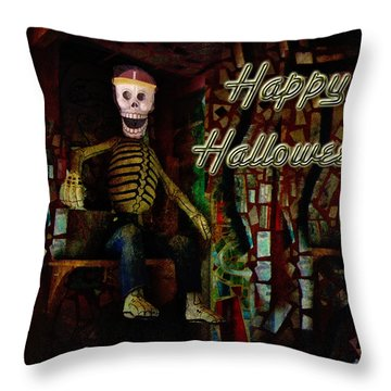 Happy Halloween Skeleton Greeting Card Throw Pillow by Mother Nature