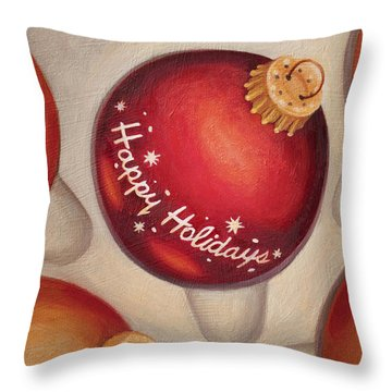 Throw Pillow featuring the painting Happy Holidays by Joe Winkler