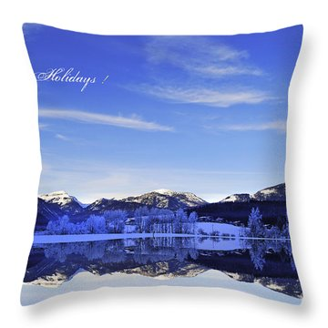 Happy Holidays Throw Pillow by Sabine Jacobs