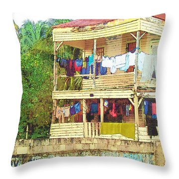 Happy Hour Washday Belize Throw Pillow by Rebecca Korpita