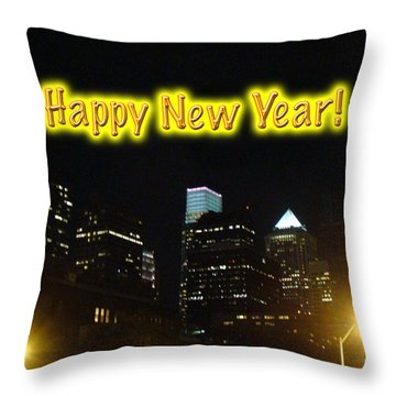 Happy New Year Greeting Card - Philadelphia At Night Throw Pillow by Mother Nature
