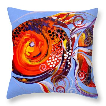 Happy Rainbow Fish Throw Pillow