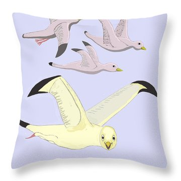 Happy Seagulls Throw Pillow by Fred Jinkins