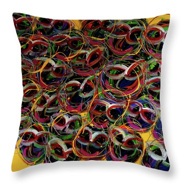 Happy Smiling Faces Throw Pillow by Karen Elzinga