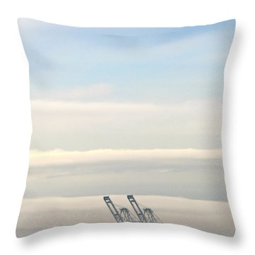 Throw Pillow featuring the photograph Harbor Cranes In Fog by Sean Griffin