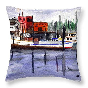 Harbor Fishing Boats Throw Pillow by Chriss Pagani