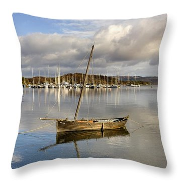 Harbour In Tarbert Scotland, Uk Throw Pillow
