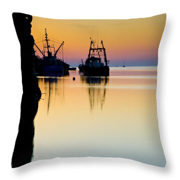 Harbour Sunrise Throw Pillow by Trevor Chriss