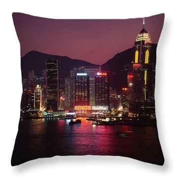 Harbour View At Night Throw Pillow by Axiom Photographic