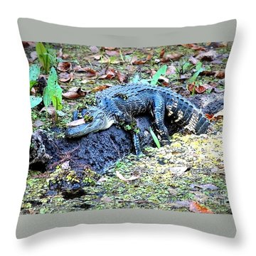 Hard Day In The Swamp - Digital Art Throw Pillow by Carol Groenen