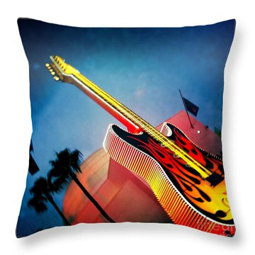 Throw Pillow featuring the photograph Hard Rock Guitar by Nina Prommer