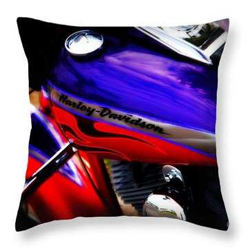 Harley Addiction Throw Pillow by Susanne Van Hulst