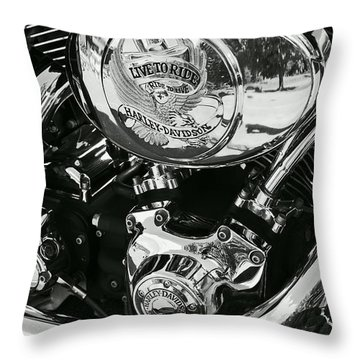 Harley Davidson Bike - Chrome Parts 02 Throw Pillow by Aimelle