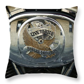 Harley Davidson Bike - Chrome Parts 44c Throw Pillow by Aimelle