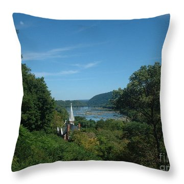 Throw Pillow featuring the painting Harper's Ferry Long View by Mark Robbins