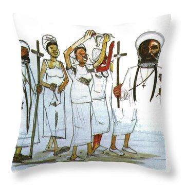 Harris And His Followers Throw Pillow by Emmanuel Baliyanga