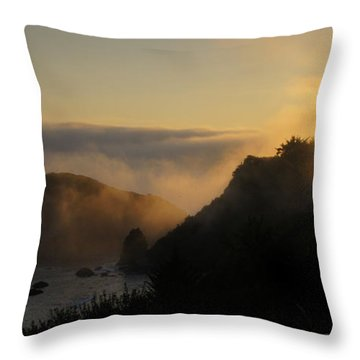 Harris Beach Sunset Panorama Throw Pillow