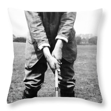 Throw Pillow featuring the photograph Harry Vardon Displays His Overlap Grip by International  Images
