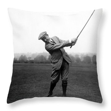 Throw Pillow featuring the photograph Harry Vardon Swinging His Golf Club by International  Images