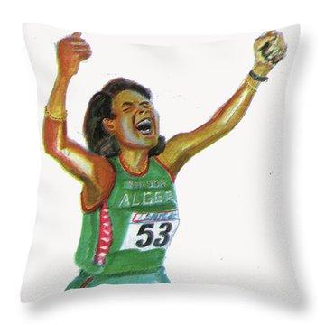 Hassiba Boulmerka Throw Pillow by Emmanuel Baliyanga