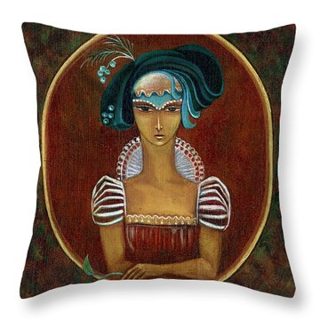 Hat Dream Fantasy Woman Face With Dramatic  Blue Hat Old Style Red Dress With White Lace Sleeves  Throw Pillow by Rachel Hershkovitz